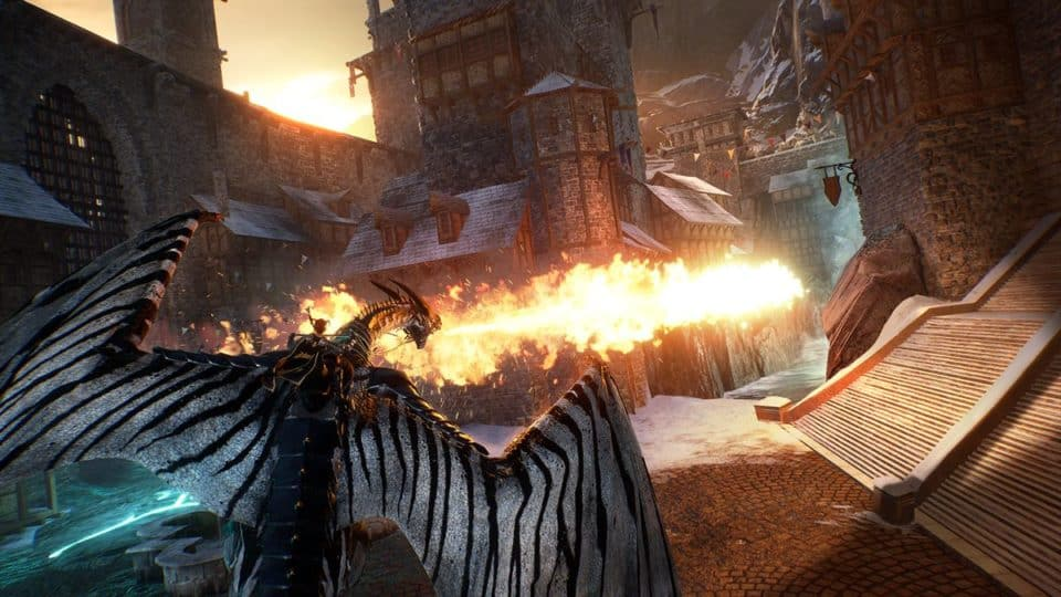 Century Age of Ashes Multiplayer Dragon Fight - Dragon fire breath in low altitude flight