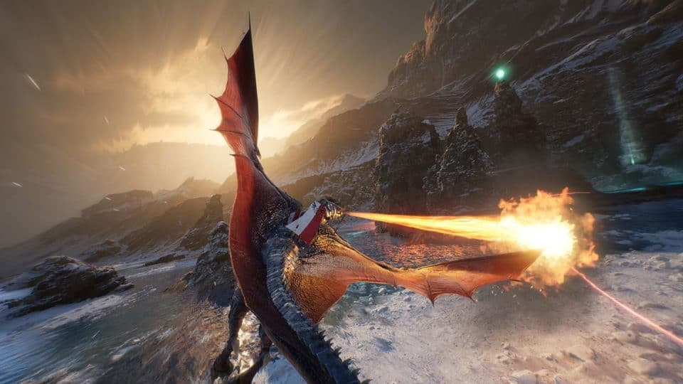Century Age of Ashes Multiplayer Dragon Fight - Red Dragon fire breathing over icy region