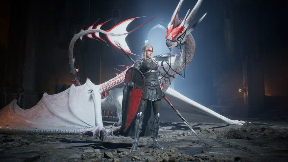 Century Age of Ashes Multiplayer Dragon Fight - White Dragon with Dragon Rider Knight