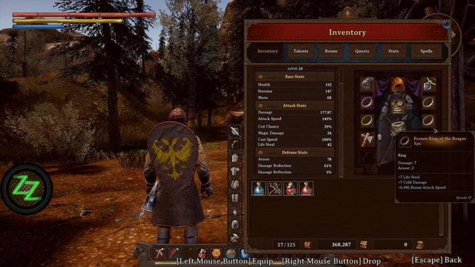 Dungeons Of Edera Test - Review - 3D roguelike Indie Dungeon-Crawler RPG Inventory and Character Stats - Inventar und Charakter Werte
