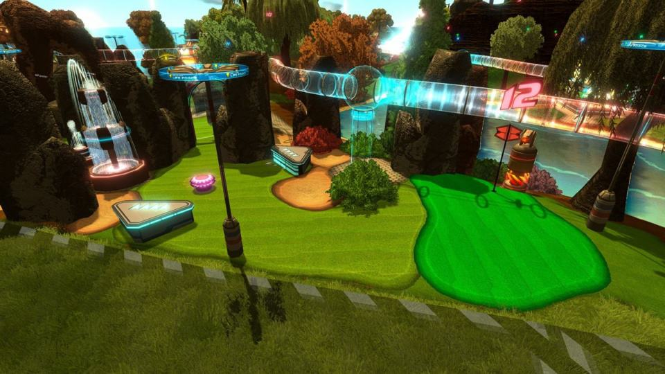 Golftopia Review-Test - SciFi Golfer in bunt - SimGolf or SimTycoon - Nice decorations