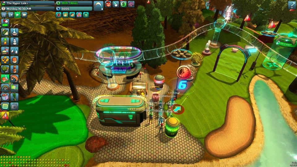 Golftopia Review-Test - SciFi Golfer in bunt - SimGolf or SimTycoon - Shops and Toilets