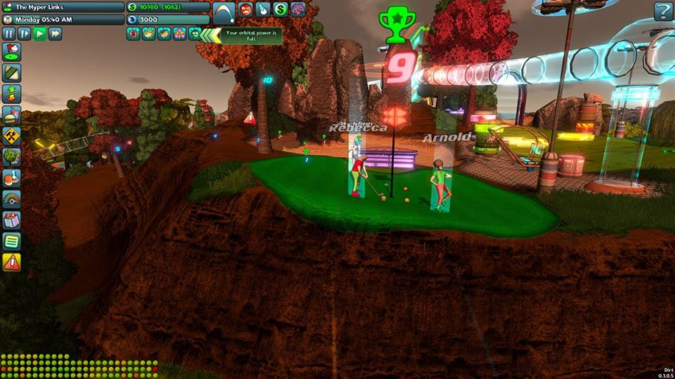 Golftopia Review-Test - SciFi Golfer in bunt - SimGolf or SimTycoon - Up on a hill