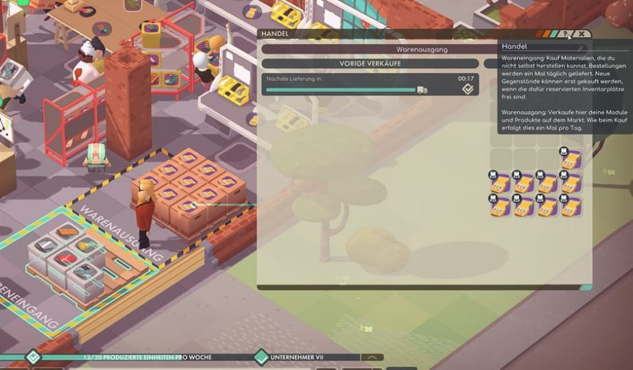 Good Company Review - Test des Factory Tycoon PC Game - Ingame Hilfe