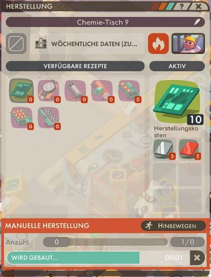 Good Company Review - Test des Factory Tycoon PC Game - Menü Werkbank