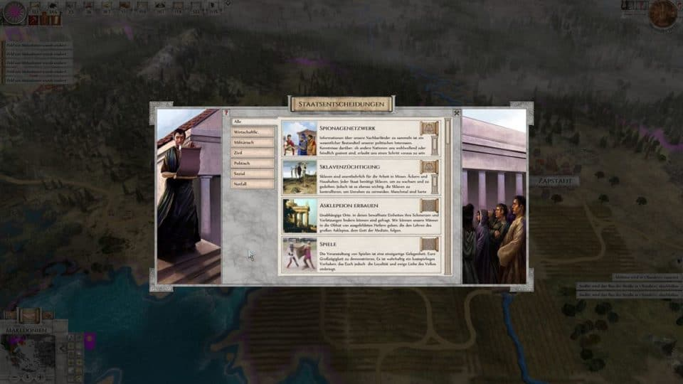 Imperiums Greek Wars Review - Test - 4X Rundenstrategie in der Antike - 4X Turnbased Strategy in ancient Greece - State Decisions - Staats Entscheidungen