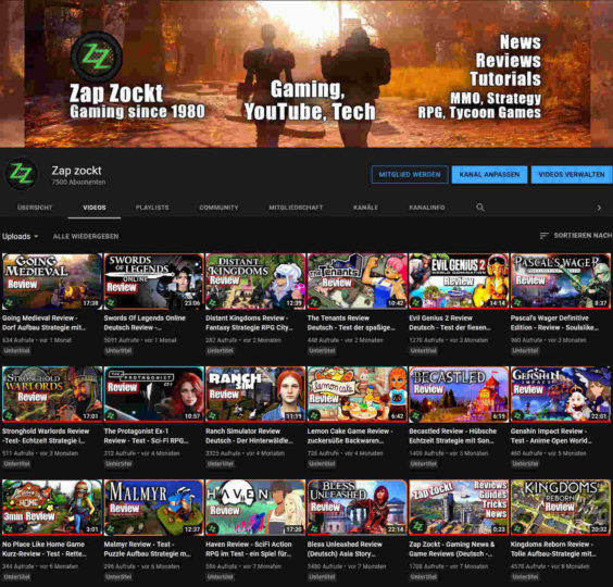 Zap Zockt 7500 subscribers on YouTube
