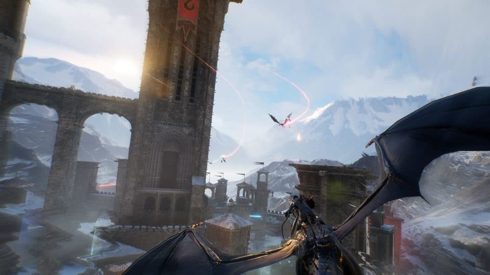 Century Age of Ashes Multiplayer Dragon Fight - Black Dragon in fast paced combat over a Castle