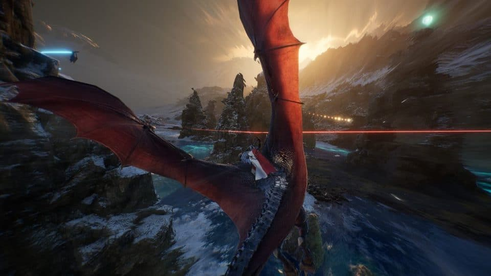 Century Age of Ashes Multiplayer Dragon Fight - Red Dragon in Flight with Dragon Rider