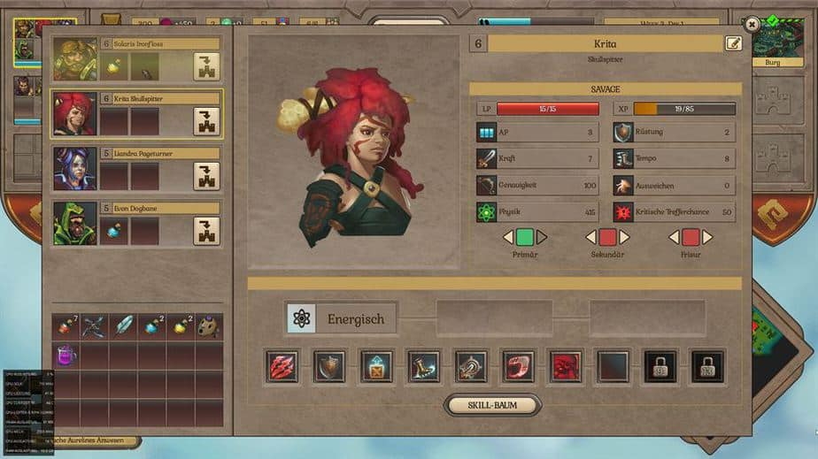 Fort Triumph Review - Test - Fantasy XCOM trifft Heros of MM Character Sheet