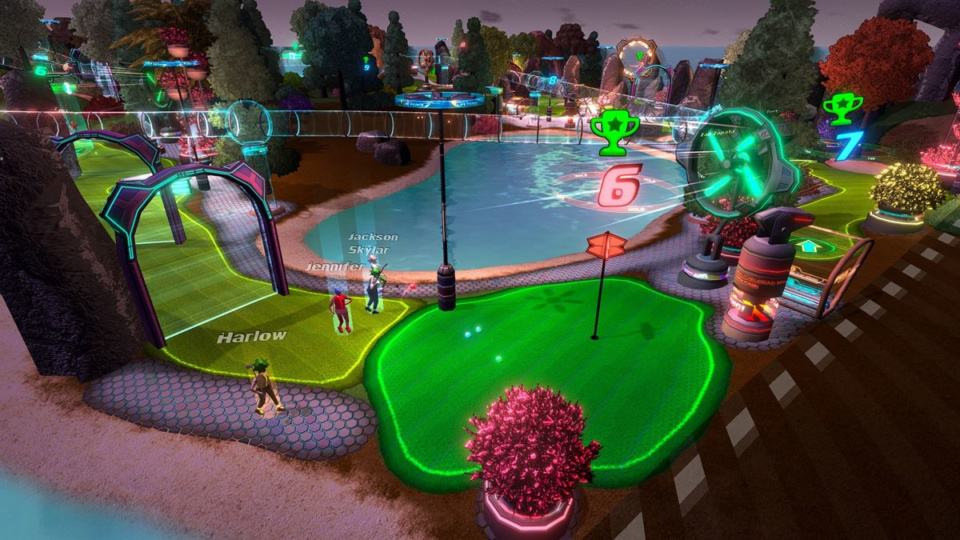 Golftopia Review-Test - SciFi Golfer in bunt - SimGolf or SimTycoon - Day and Night Cycle - Neon by Night
