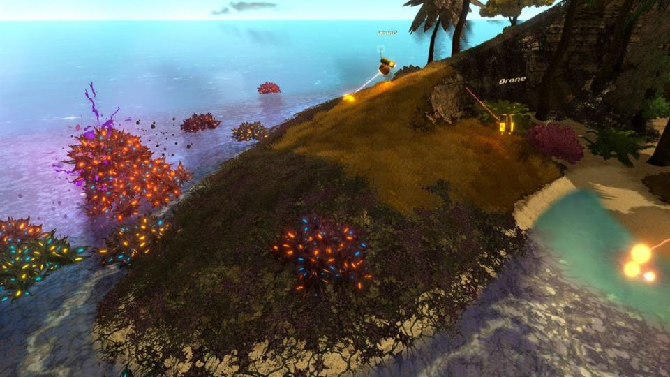 Golftopia Review-Test - SciFi Golfer in bunt - SimGolf or SimTycoon - Drones hunting Weed Plague