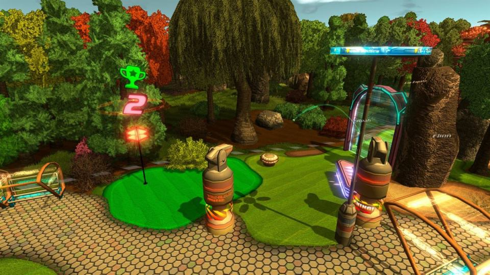 Golftopia Review-Test - SciFi Golfer in bunt - SimGolf or SimTycoon - Golfing beside the forest