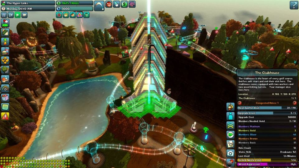 Golftopia Review-Test - SciFi Golfer in bunt - SimGolf or SimTycoon - The clubhouse