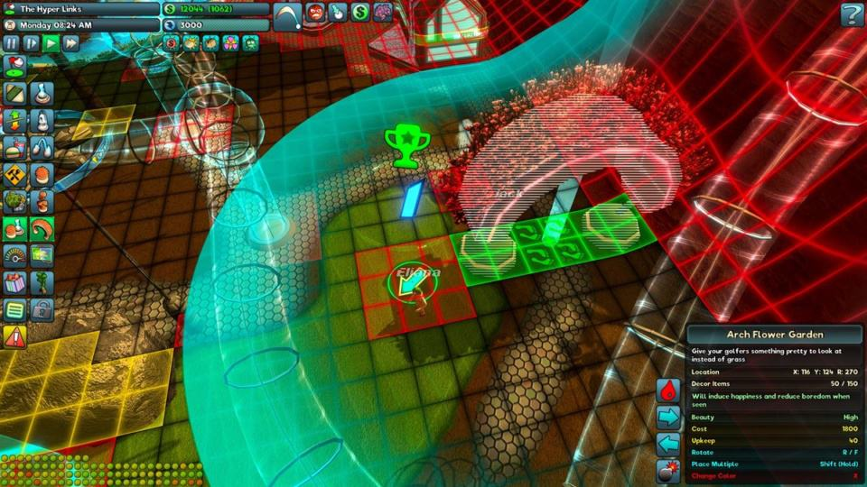 Golftopia Review-Test - SciFi Golfer in bunt - SimGolf or SimTycoon - complex simulation