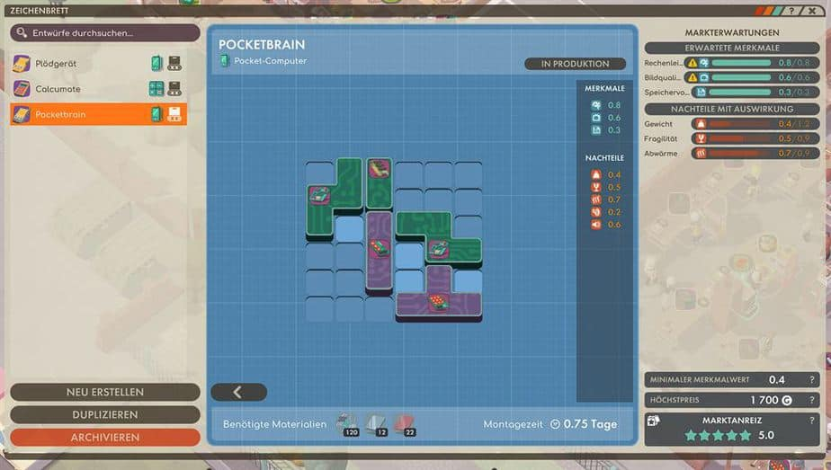 Good Company Review - Test des Factory Tycoon PC Game - Gerät Entwurf