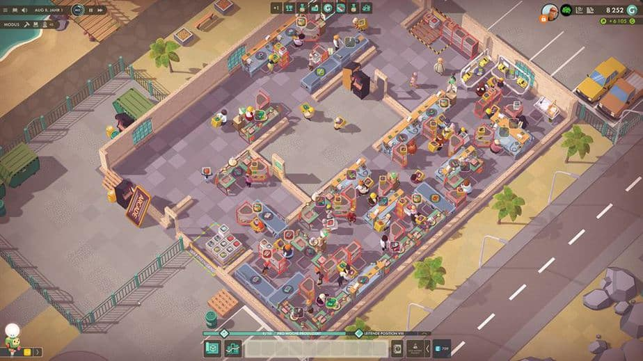 Good Company Review - Test des Factory Tycoon PC Game - Komplexe Fabrik - complex fabrication hall