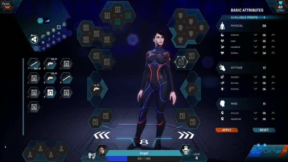 The Protagonist Ex-1 Review - Test - Sci-Fi RPG im Alien-Raumschiff - Inventory and Character Stat Screen - Inventory und Charakter Werte