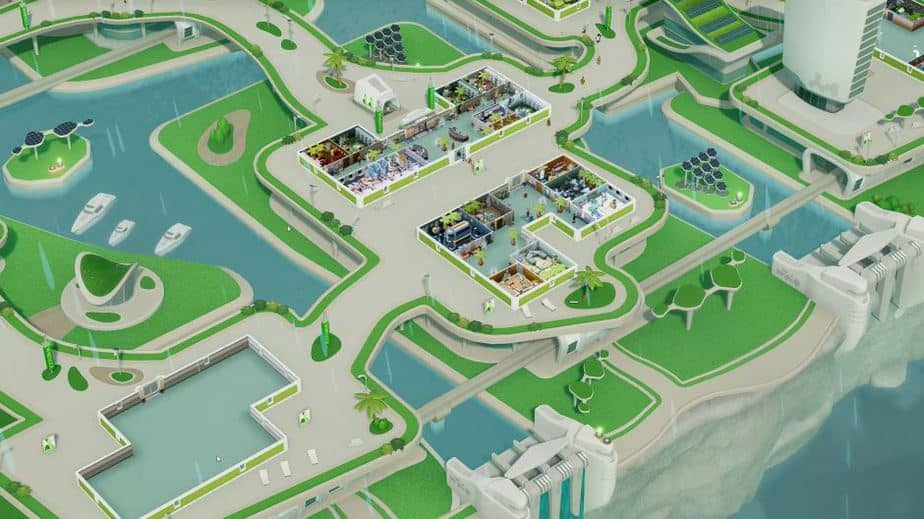 Two Point Hospital Off the Grid DLC Review (Deutsch-German, many subtitles) WIndsock City Overview