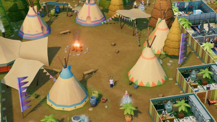 Two Point Hospital Off the Grid DLC Review (Deutsch-German, many subtitles) Wanderoff Tents